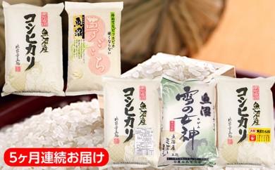 [№5762-0138]魚沼産米5種類 食べ比べコース5kg 5ヶ月連続お届け