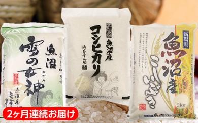 [№5762-0133]魚沼産米3品種食べ比べセット(2kg×3種類) 2カ月連続お届け