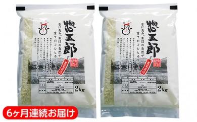 [№5762-0099]魚沼産コシヒカリ『惣五郎』精米2kg×2個セットを6ヶ月連続お届け