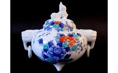 H231色鍋島牡丹文遊環香炉