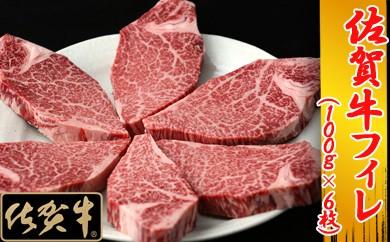E30-H 最高級牛肉「佐賀牛」フィレ肉100g×6枚 【数量限定・チルド(冷蔵)でお届け】