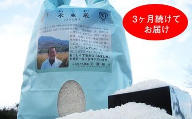 [№4631-1014]【29年度新米予約】こんちゃん農園 水主米 10kg 3ヶ月連続お届
