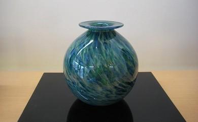 30B008 ガラスの花器「青緑」