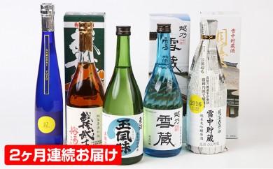 [№5762-0148]魚沼の地酒 玉風味 Hセット(720ml 4本&370ml 1本)2ヶ月連続お届け