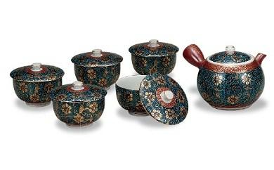 M9.【九谷焼でちょっと贅沢なひとときを】蓋付茶器・青粒