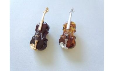J-003 バイオリンブローチと梟バックホルダーセット