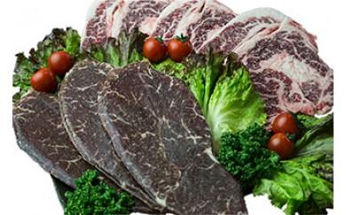 【沖縄県産黒毛和牛】熟成肉のステーキセット①(ランプ・リブロース)