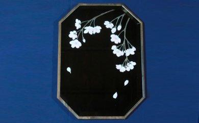 JE-004 ★美の国・日本の鏡★里山彩鏡・枝垂れ桜の壁掛面取り鏡