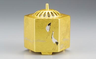 [№5809-1347]金沢箔一 雅六角香炉 鶴(金)