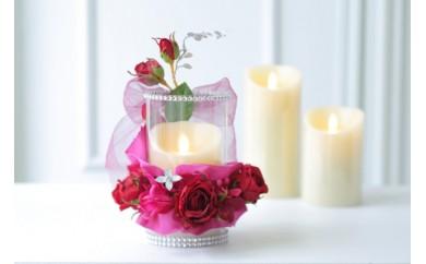 【空気をキレイにするお花】バラの記念日 アートフラワーキャンドルアレンジ