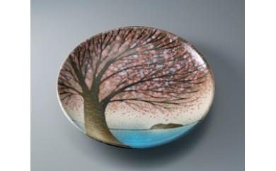 G4 布引焼尺皿〈琵琶湖の桜〉