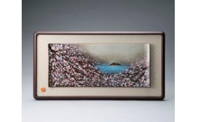 J5 布引焼陶額〈琵琶湖の桜〉