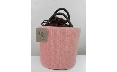 29.【(株)和紙の布】桜色で染めた和紙バッグ