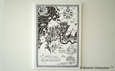 【ムーミン基金限定】MOOMIN ファブリックフレーム Mサイズ(ムーミン谷の地図)