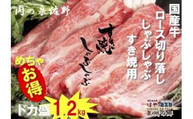 B251 国産牛ロース切り落し しゃぶしゃぶ・すき焼用 ドカ盛 1.2kg