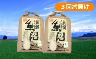 【D2905】魚沼産コシヒカリ 極上の有機栽培米定期便30kg(10kg×3回)