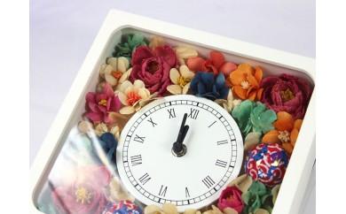TKB11 ウッドフラワー 時計アレンジメント つちかべ花店 寄付額54,000円