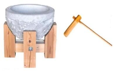 石うす木製台付ときねのセット