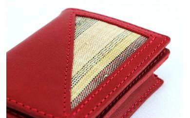 【重要無形文化財】喜如嘉の芭蕉布 カード入れ&キーホルダーセット(赤)