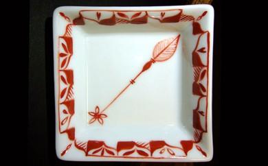 [№5784-0095]赤絵ゆず葉花種 平角珍味皿