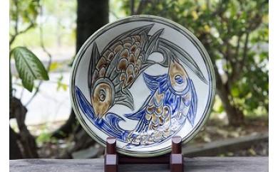 やちむん 魚紋線彫大皿