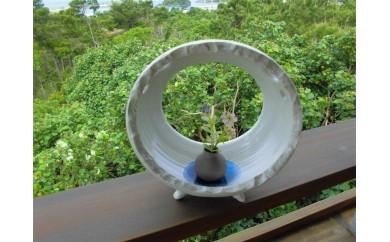 琉球焼き 青風窯 花器 丸型(底に水色の琉球ガラス入り)