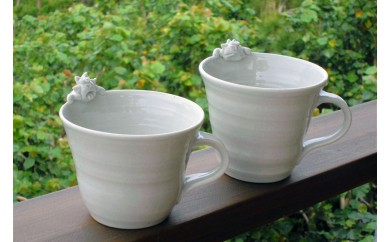 琉球焼き 青風窯 シーサー付マグカップ2点セット