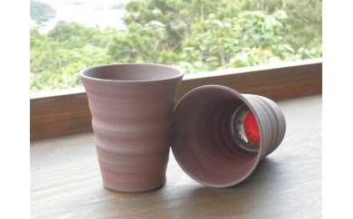 琉球焼き 青風窯 焼き締めフリーカップ2点セット