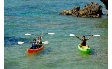 無人ビーチ上陸カヤック+青の洞窟&熱帯魚と遊ぶ餌付けシュノーケリング