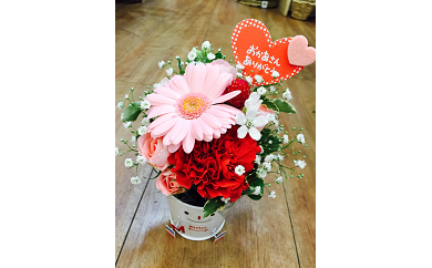 D-169 【母の日ギフト】お母さんへのプレゼントに!生花のアレンジメント20cm