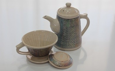 [№5664-0016]へリングボーン コーヒーポット・ドリッパー(皿付き)セット