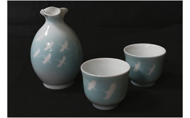 A130-5 伝統工芸士 山口幹彦作 白磁飛翔文 酒器杯
