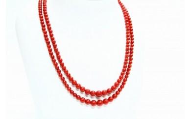 ●J-020 赤珊瑚グラデーション2連ネックレス