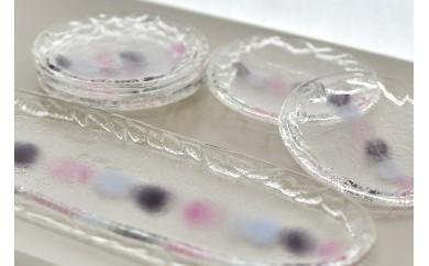 C-027 淡雪器(ガラスの長皿と小丸皿5枚の6点セット、ピンク系)