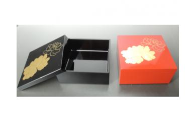 【3P】かわいい越前漆器『小箱  金箔牡丹(朱・黒)1個』