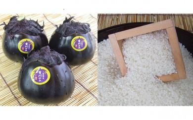 【3P】★初夏限定★伝統野菜『吉川ナス』とこだわり味自慢『さばえ菜花米』のセット [D00303]
