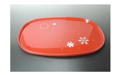 【3P】ちっちゃいサイズが使いやすい『越前漆器 雪花紋 朱 小判盆』 B00305