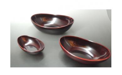 【9P】食卓をモダンに彩る『越前漆器 溜 貴船鉢 3点セット』 [B00903]