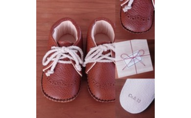 【AM-07】Co. & Kokorone工房・赤ちゃん靴(ファーストシューズ)(キャメル)