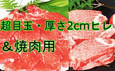 H-002 丸宗:★超目玉お礼品B★九州産和牛ヒレステーキ3枚&焼肉用ヒレ