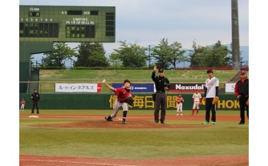 I-128-5 信濃グランセローズ公式戦 ホームゲームを特別席で観戦 始球式ができます+特産品+名前入り帽子1人分