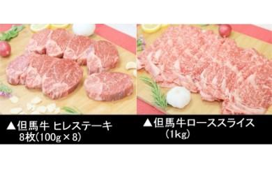 H-3【但馬牛】ヒレステーキ&ローススライス食べ比べセット(2月以降配送)
