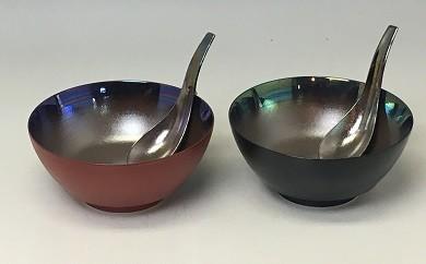 MB005 黒塗、朱塗南蛮パール ペアラーメン鉢(レンゲ付)