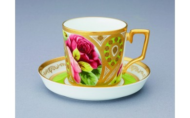 H286オマージュコレクションコーヒー碗皿 若草色絵薔薇文