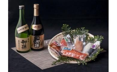 NC57 エーコープオリジナル漬魚詰合せと清酒 初孫 純米大吟醸酒「祥瑞」、生酛純米本辛口「魔斬」セット
