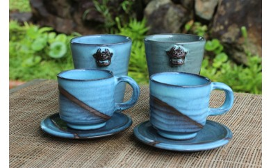 【やちむん土炎房】コーヒーカップ2客とシーサー付フリーカップ(大)2個セット