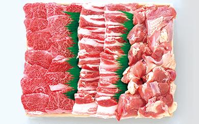 7C-08鹿児島県産黒毛和牛・黒豚・赤鶏 焼肉用詰合せ