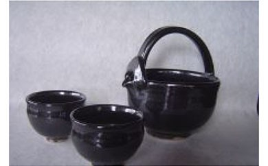 AA03 新庄東山焼 油滴手付冷酒器セット