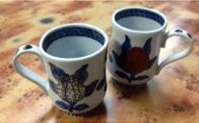 Y003 上の畑焼  色絵三多紋組マグカップ