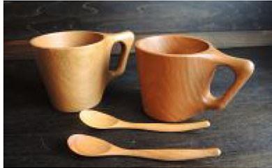 AF02 木製食器 マグカップ・ティースプーンペア